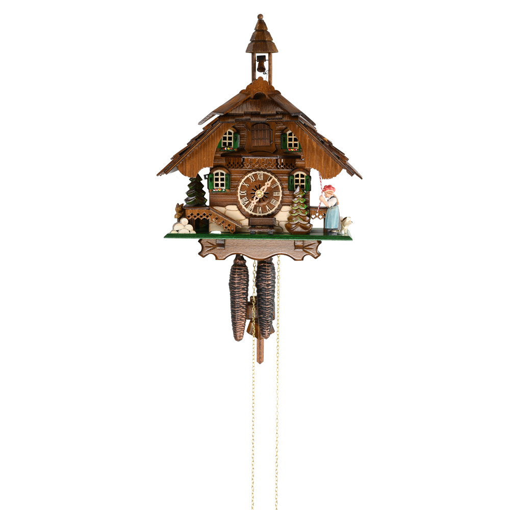 Black Forest Chalet with Animated Bell Tower and Bell Ringer 1 Day Mechanical Cuckoo Clock