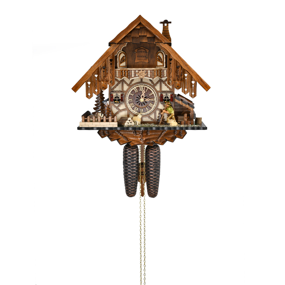 Stunning Black Forest Chalet with Animated Happy Wanderer 8 Day Mechanical Cuckoo Clock