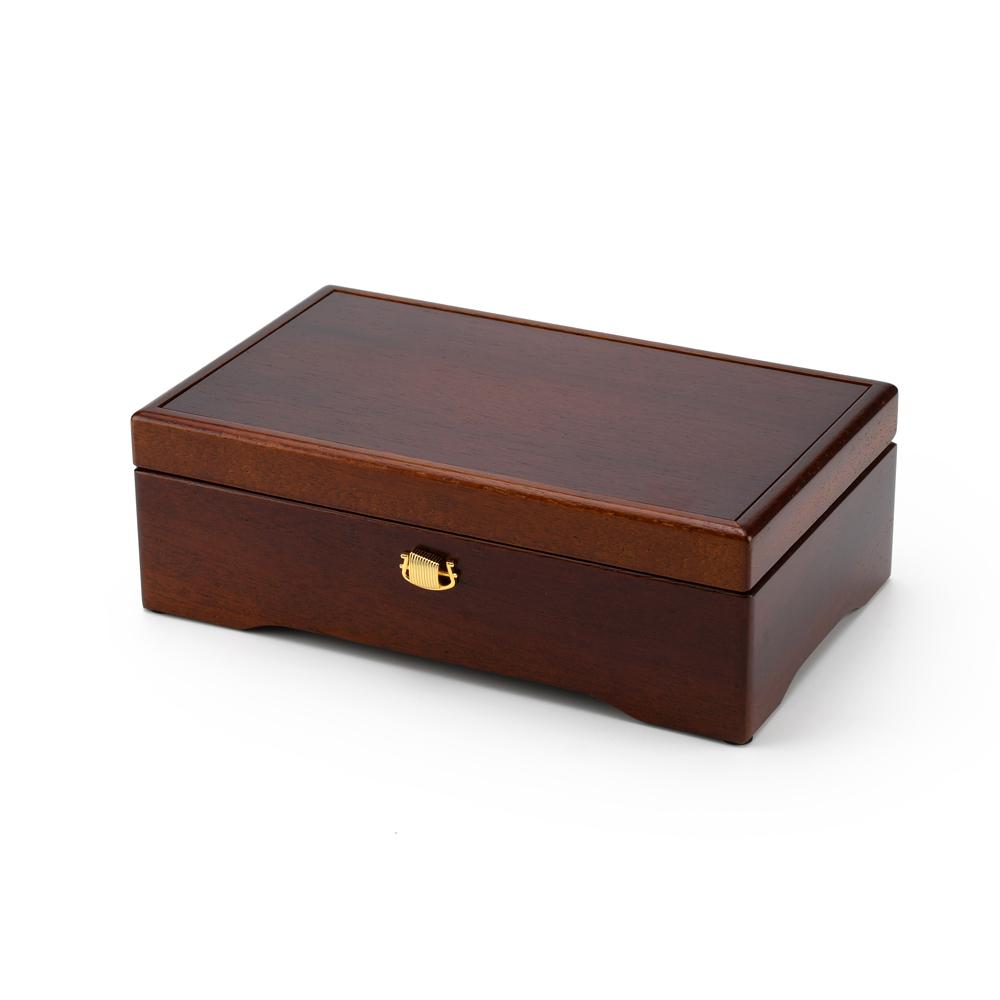 Classic Simplistic 72 Note Swiss Walnut Musical Jewelry Box