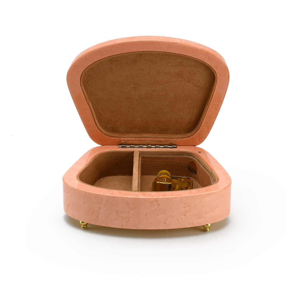 Sea Shell Shaped 18 Note Pink Italian Music Box with Floral Motifs
