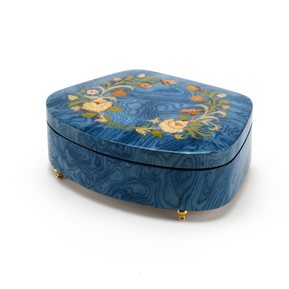 Sea Shell Shaped 18 Note Sea Blue Italian Music Box with Floral Motifs