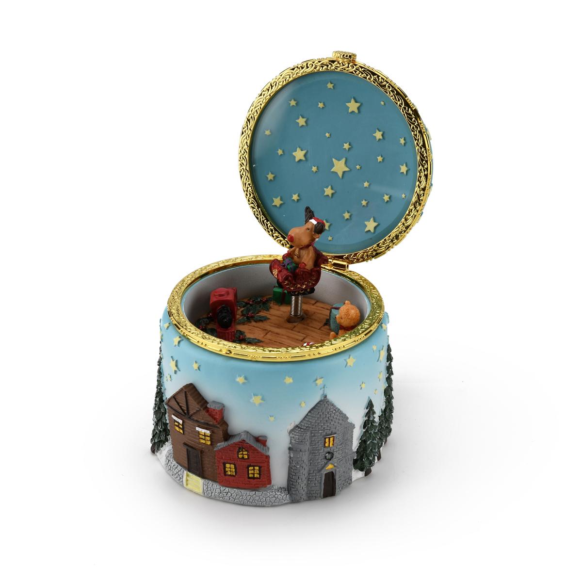 Joyful and Festive Christmas Themed Animated Musical Trinket Keepsake