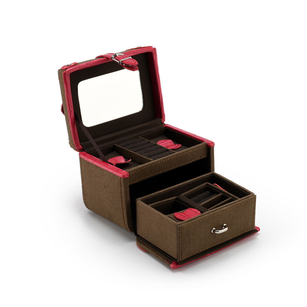 Brown Polyester with Faux Pink Croc Leather Fashionable Mini Jewelry Box