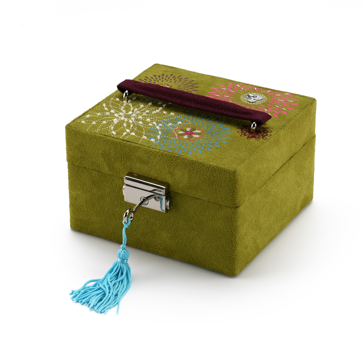 Vintage Green Jewelry Box with Embroidered Design
