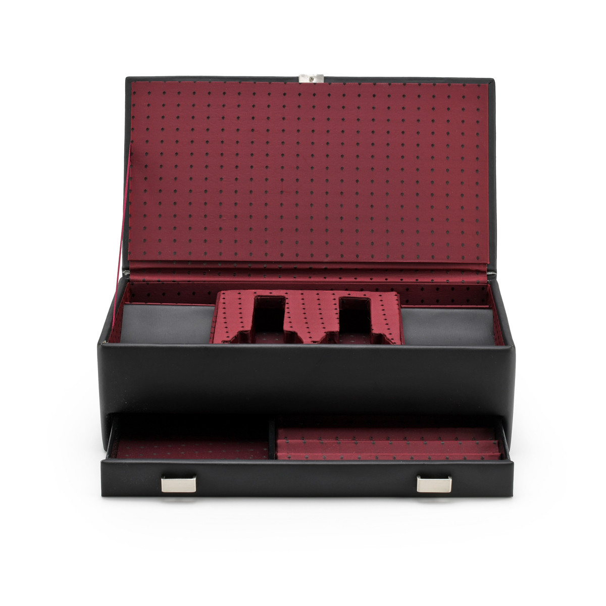 His / Hers Synthetic Leather Valet Jewelry Box with Silver Hardware