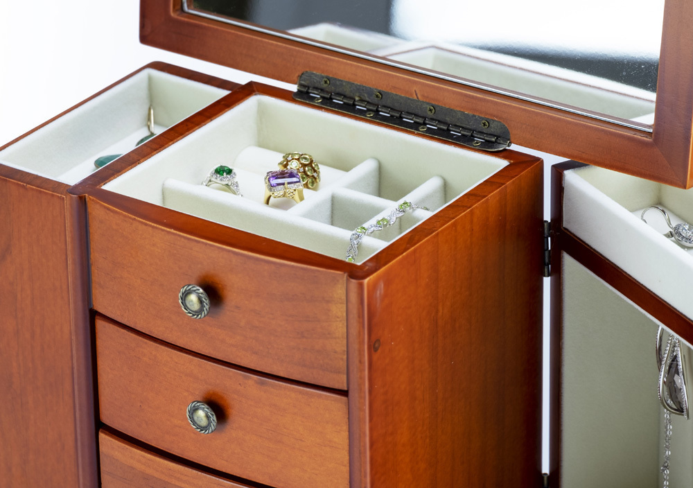 Contemporary 23 Note Wooden Musical Jewelry Box with Pewter Hardware