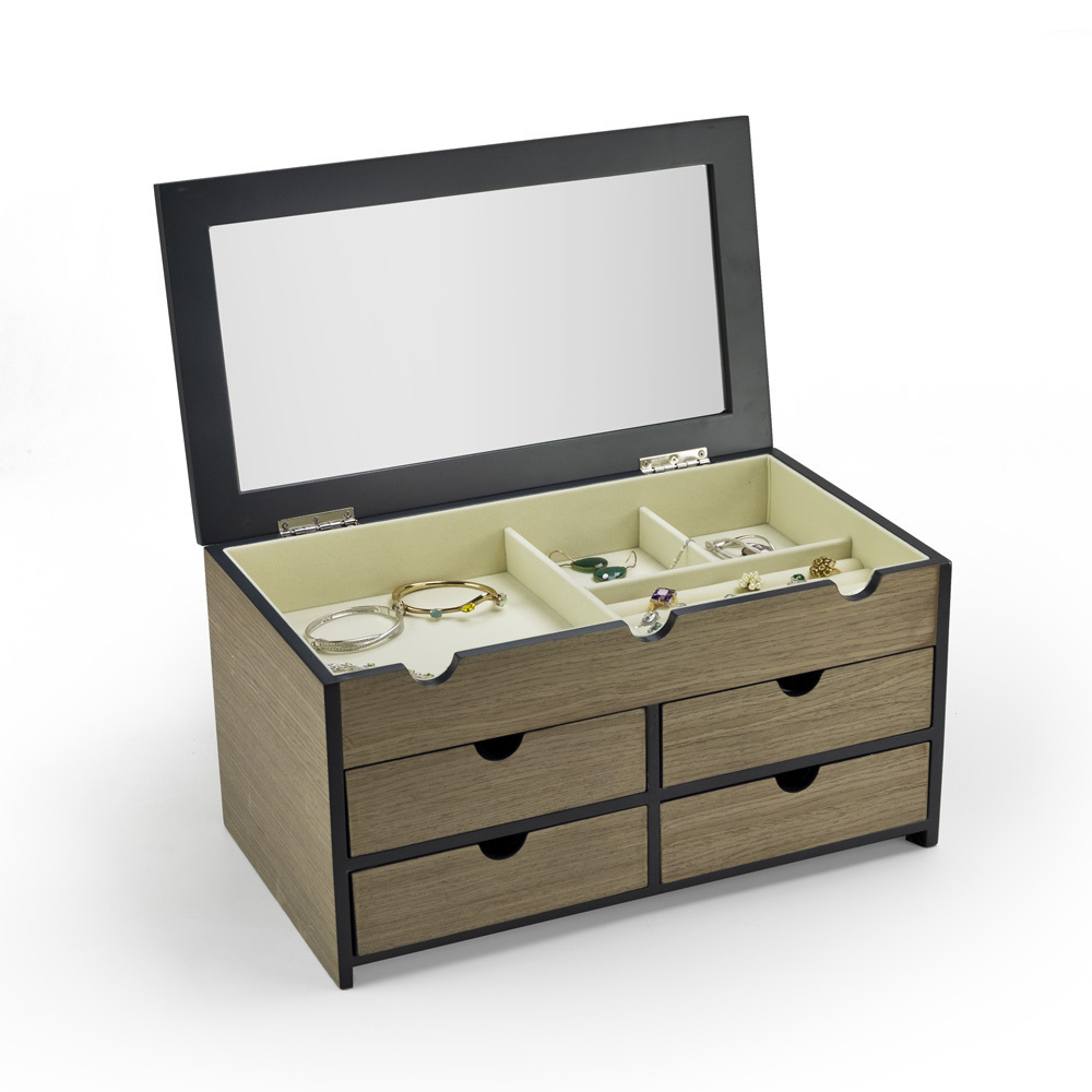 Modern 23 Note Washed Grey Spacious Musical Jewelry Box with Mirror