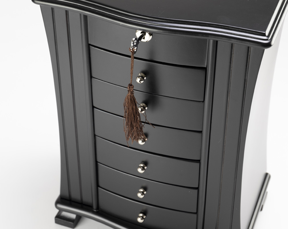 Stunning 23 Note Matte Black Grand Musical Jewelry Box with Lock and Key