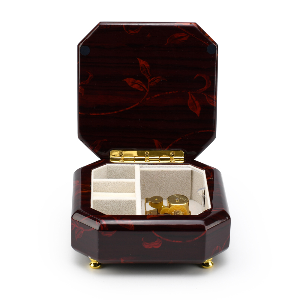 Artistic 23 Note Beveled Octagonal Music Jewelry Box with Floral Motifs