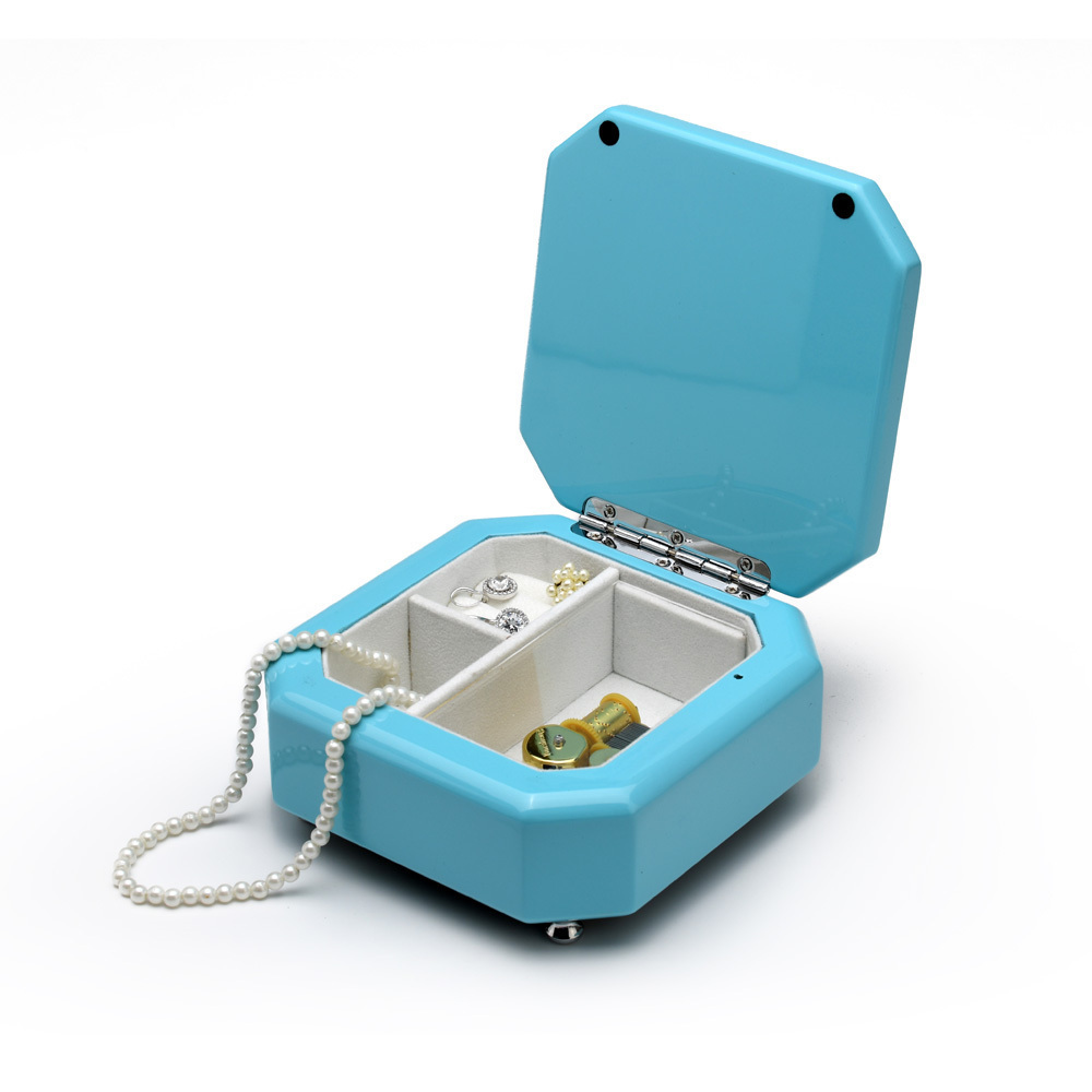 Breathtaking 23 Note Tiffany Blue Musical Jewelry Box with Silver Hardware
