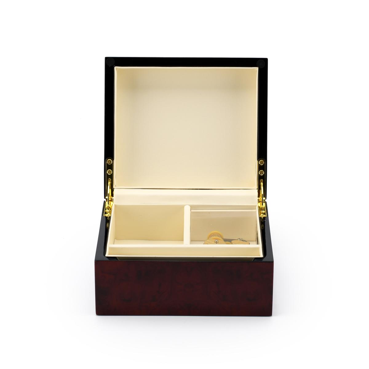 Modern Hi Gloss 23 Note Burl Wood Jewelry Box