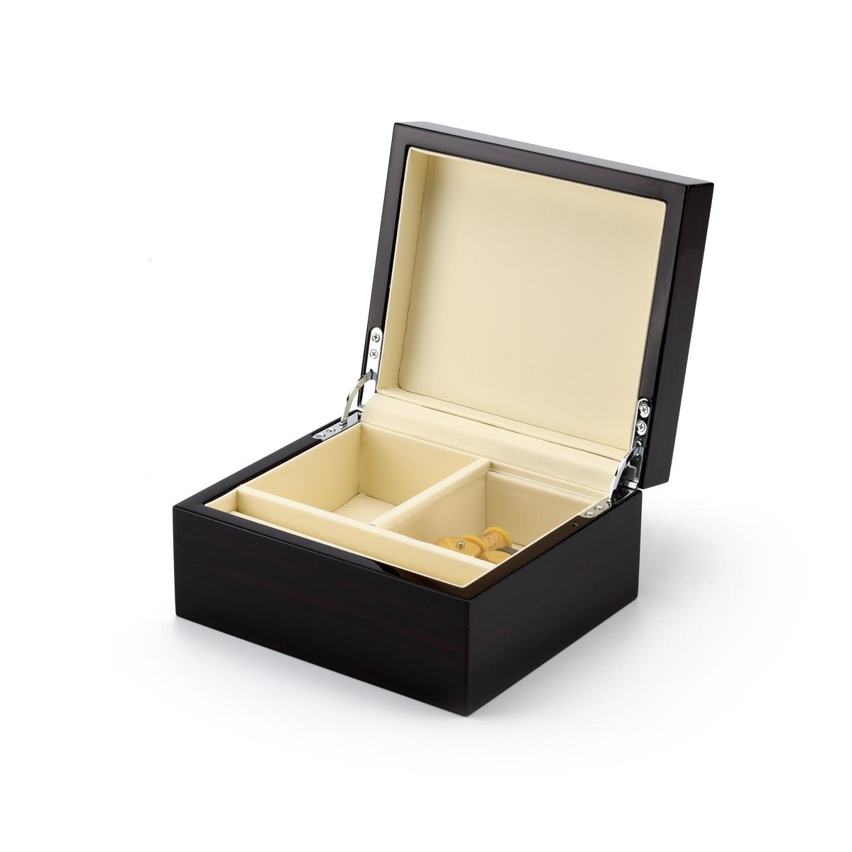 Contemporary 23 Note Hi Gloss Macassar Finish Jewelry Box