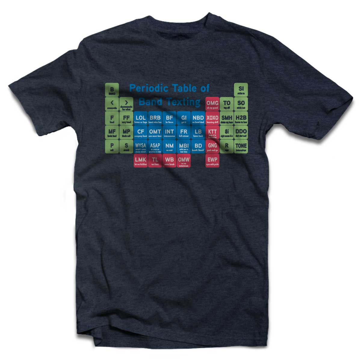 Periodic Table of Band Texting T-Shirt