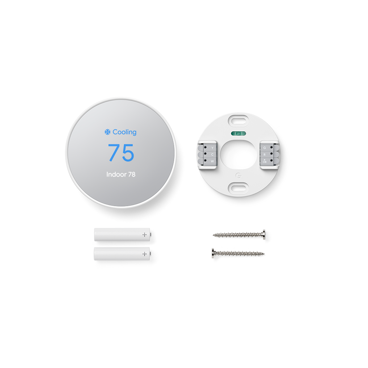 Nest thermostat with backplate and screws