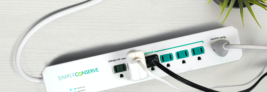 Simply Conserve branded Advanced Power Strip with plugs in it.