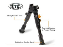 UTG Bipod, SWAT/Combat Profile,Adjustable Height, Rubberized Stand