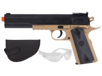 Colt 1911 Spring Airsoft Kit,  Black & Tan