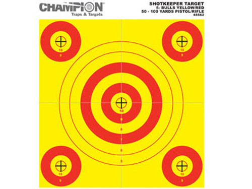 "Champion 5-Bull Paper Target, Yellow/Orange, 8.5""x11"", 12/pk"