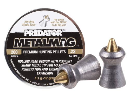 Predator Metalmag Pellets, .22 Cal, 17 Grains, Pointed, 200ct
