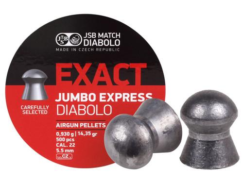JSB Diabolo Exact Jumbo Express .22 Cal, 14.3 Grains, Domed, 500ct