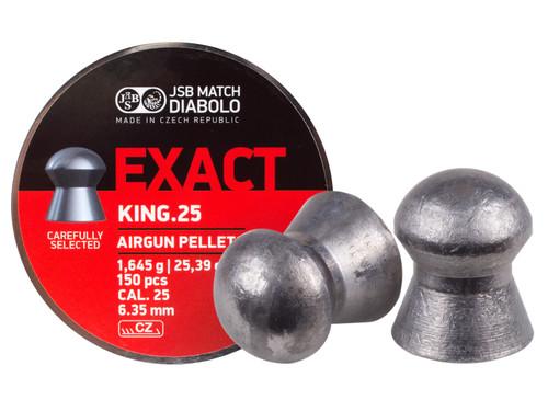 JSB Match Diabolo Exact King .25 Cal, 25.4 Grains, Domed, 150ct