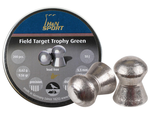 H&N Field Target Trophy Green, .22 Cal, 9.56 Grains, Domed, Lead Free, 200ct