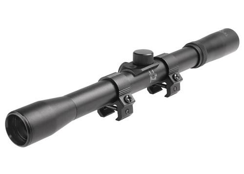 "Tech Force 4x20 Rifle Scope, Duplex Reticle, .75"" Tube, 11mm Rings"