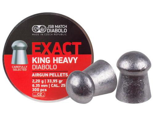 JSB Diabolo Exact King, .25 Cal, 33.95 Grains, Domed, 300ct