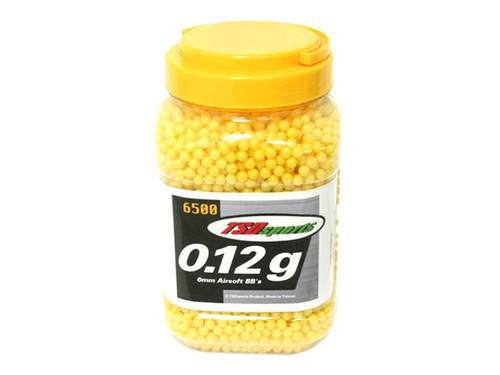TSD Sports 6mm plastic airsoft BBs, 0.12g, 6500 rds, yellow