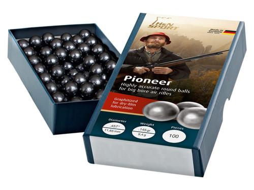 H&N Pioneer .457 Round Ball Ammo, 145 Grains, 100ct
