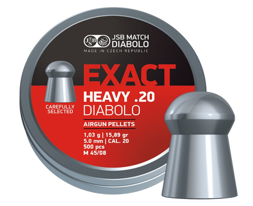 JSB Match Diabolo Exact Heavy .20 Cal, 15.89 Grains, Domed, 500 Count