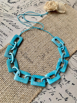 GT Square Bead Tagua Necklace