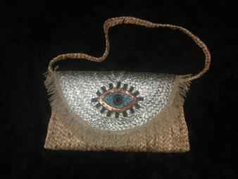 Gold Jute Eye Shoulder Bag/Clutch