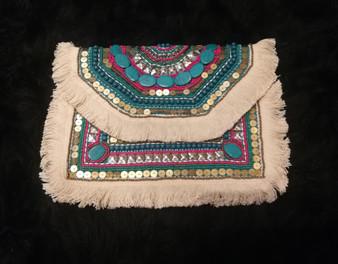 Embellished Turquoise/Pink Shoulder Bag/Clutch