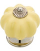 "CMI001-Y Polished Chrome & Yellow 1 1/2"" Pumpkin Cabinet Drawer Knob"