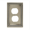 W10103-BSP Brushed Satin Pewter Beaded Duplex Outlet Cover Plate