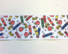 """Crayons Back To School Fabric Grosgrain Ribbon 10 Yds 2 1/4"""" Wide"""