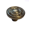 "PN1515-ACT 40mm 1 1/2"" Olive Leaf Cabinet Drawer Knob Tumbled Antique Copper"