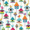 Studio E 3943-10 Sunshine Kisses Birdhouses White Quilting Fabric By Yard