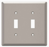 Style Selections W45067-SN Satin Nickel Simple Square Double Switch Wall Plate Cover