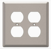 Style Selections W45070-SN Satin Nickel Simple Square Double Duplex Wall Plate Cover