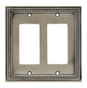 Brainerd W10447-BSP Beaded Brushed Satin Pewter Double GFCI Wall Plate Cover
