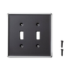 Hearth & Hand Matte Ebony Border Double Switch Wall Plate Cover 2 Pack