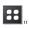 Hearth & Hand Matte Ebony Border Double Duplex Wall Plate Cover 2 Pack