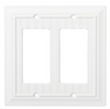 Brainerd W37237-PW Pure White Beadboard Double GFCI Wall Cover Plate