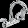 Delta Foundations B2418LF Chrome 2-Handle Kitchen Faucet w/ Side Sprayer