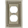 W115ZMC-BSP Greek Key Brushed Satin Pewter Single Duplex Cover Plate