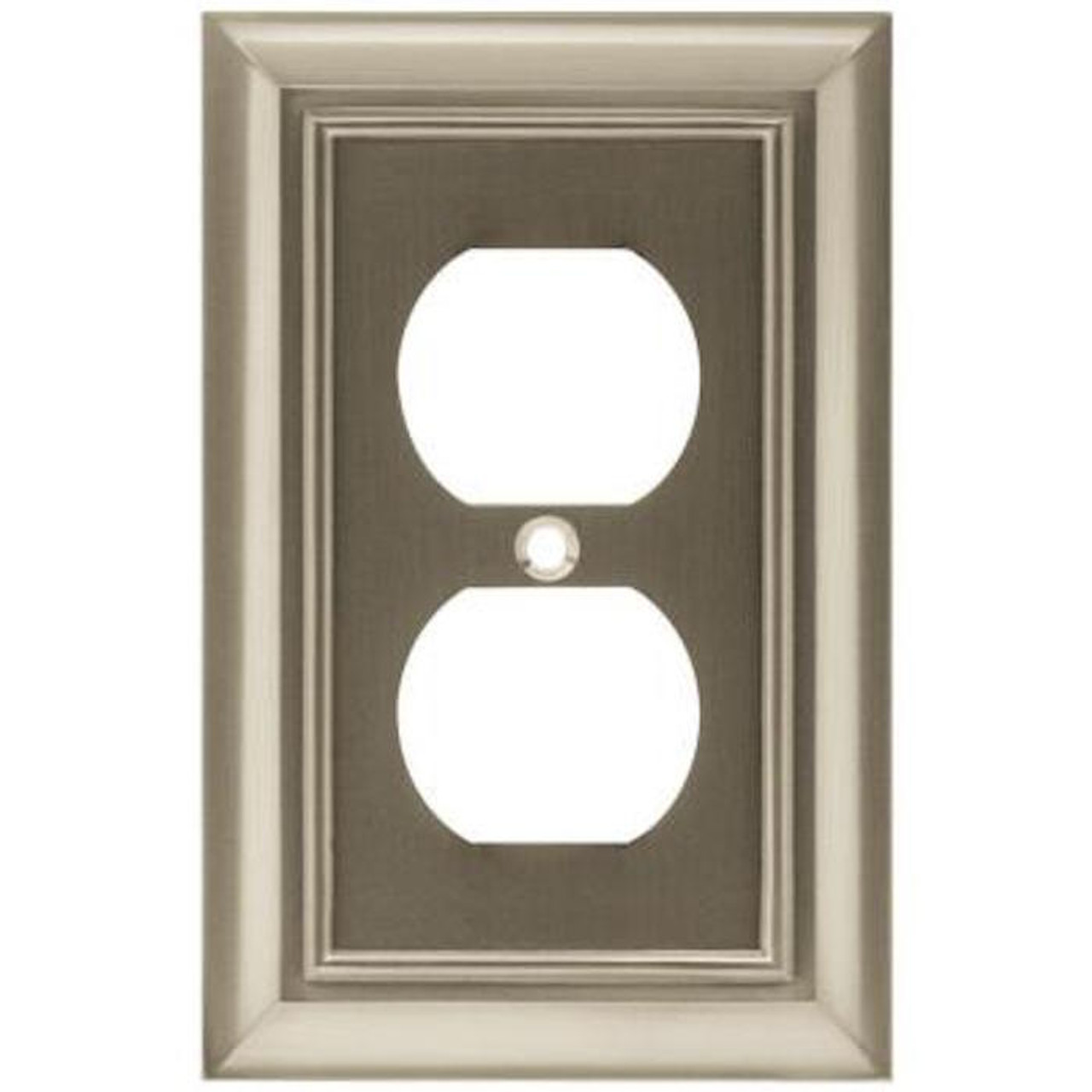 085-03-1055 Architect Single Duplex Outlet Cover Plate Satin Nickel