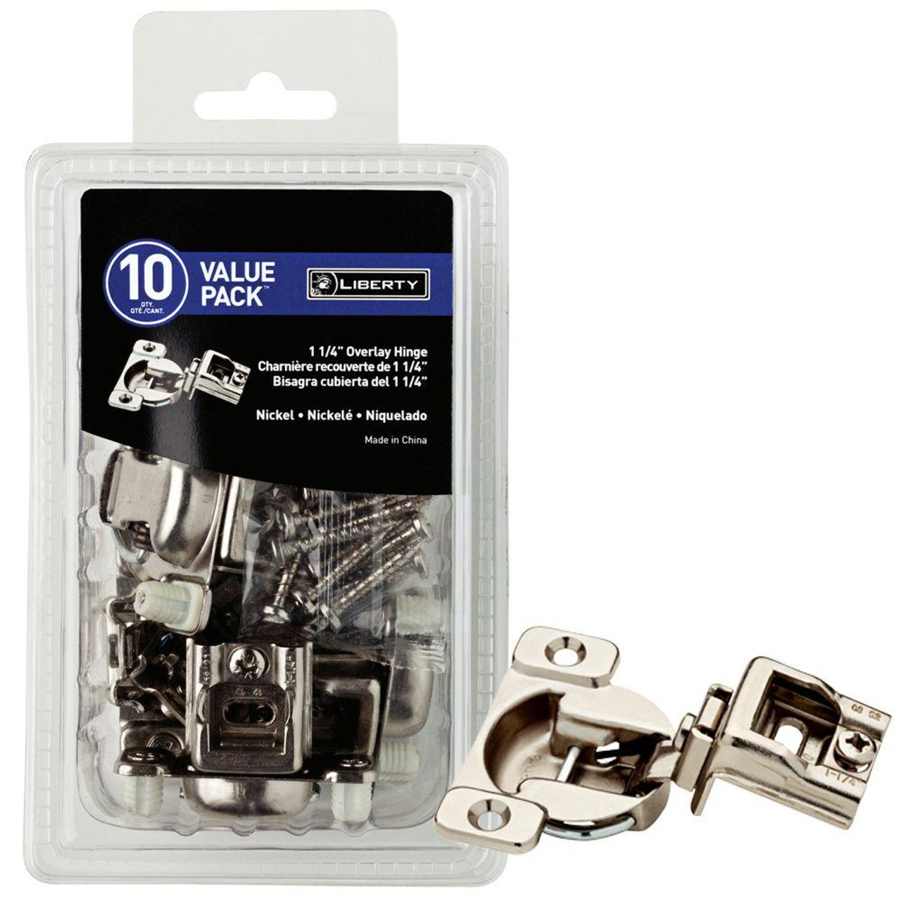 "840304 1 1/4"" Euro HInge Full Overlay Nickel Finish Set of 10"
