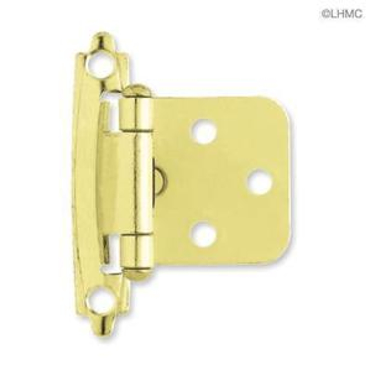 H0103BL-PB Brass Plate Self Closing Overlay HInge 2 Pack